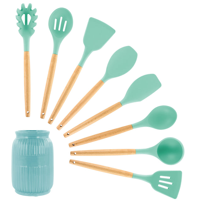 MegaChef Mint Green Silicone and Wood Cooking Utensils, Set of 9 - Bent Buys