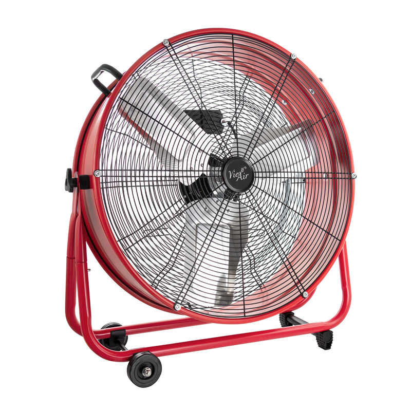 VieAir 24 Inch Commercial Floor Drum Fan in Red - Bent Buys