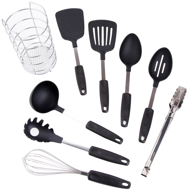 Gibson Chef's Better Basics 9-Piece Utensil Set with Round Shape Wire Caddy - Bent Buys