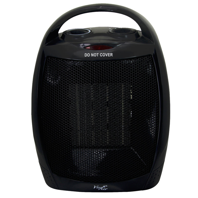 Vie Air 1500W Portable 2 Settings Black Ceramic Heater with Adjustable Thermostat - Bent Buys