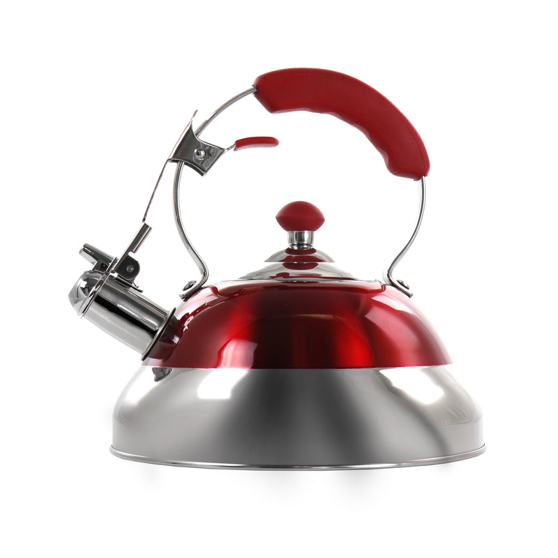 MegaChef 2.7 Liter Stovetop Whistling Kettle in Red - Bent Buys