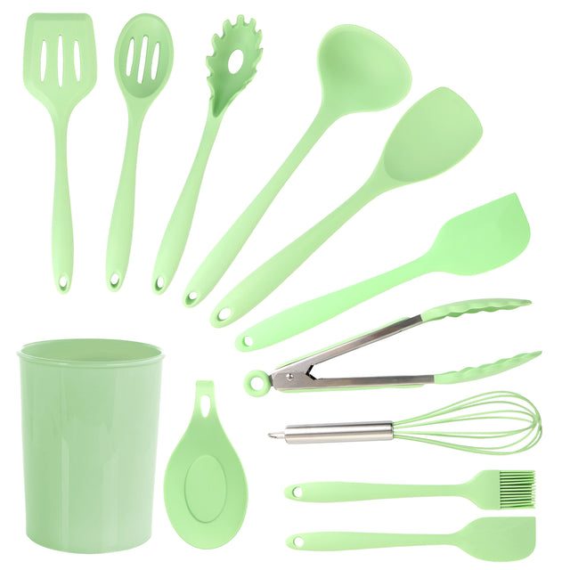 MegaChef Mint Green Silicone Cooking Utensils, Set of 12 - Bent Buys
