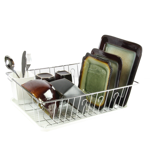 MegaChef 17.5 Inch White Single Level Dish Rack with 14 Plate Positioners and a Detachable Utensil Holder - Bent Buys