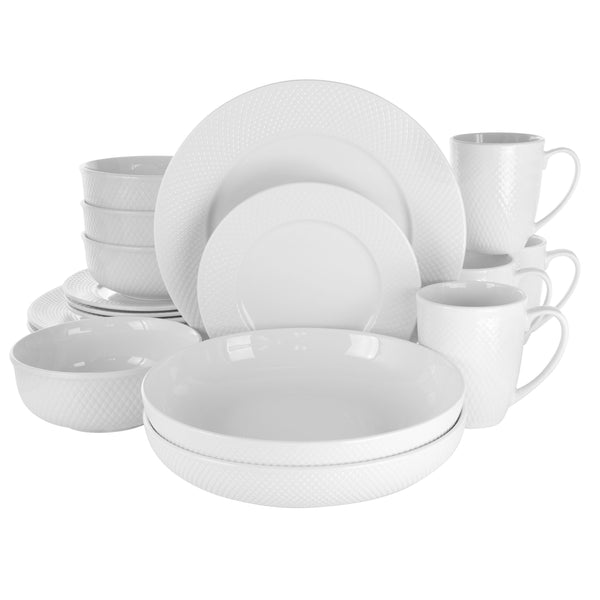 Elama Maisy 18 Piece Round Porcelain Dinnerware Set in White - Bent Buys
