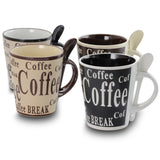 Gibson Bareggio 8 Piece 13 Ounce Coffee Mug with Spoon Set, Service for 4 - Bent Buys