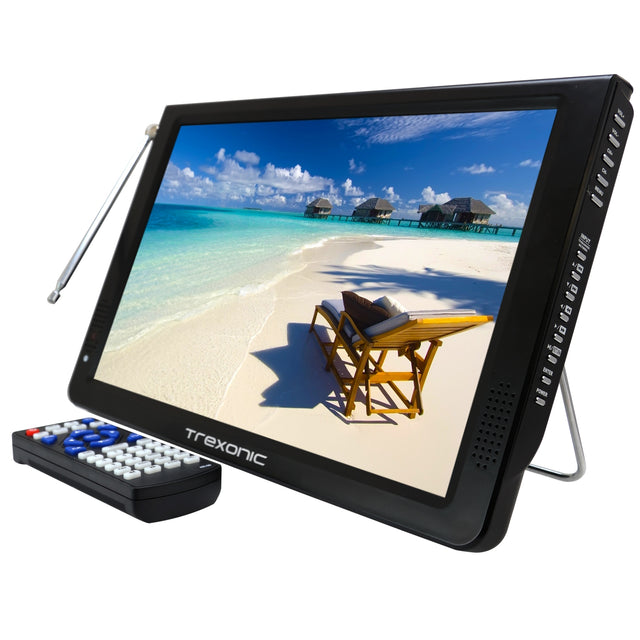 "Reconditioned Trexonic Portable Ultra Lightweight Rechargeable Widescreen 12"" LED TV With HDMI,  SD, MMC, USB, VGA,  Headphone Jack, AV Inputs and Output And Built-in Digital Tuner and Detach"