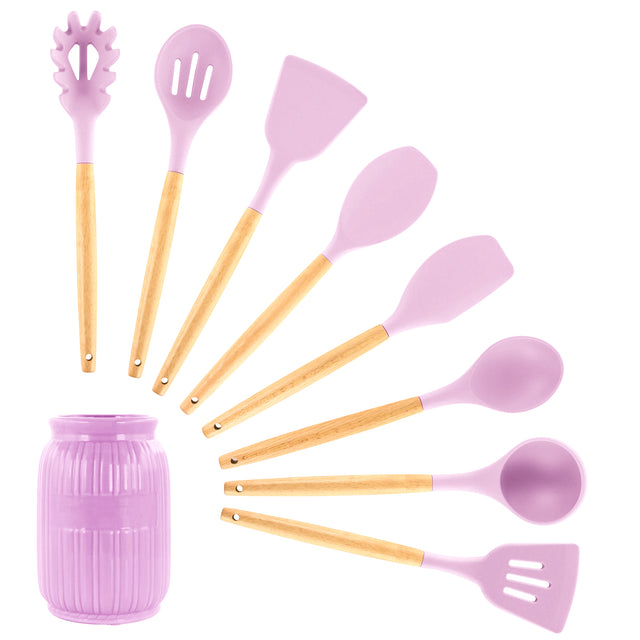 MegaChef Pink Silicone and Wood Cooking Utensils, Set of 9 - Bent Buys