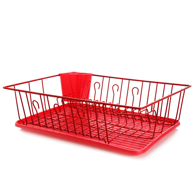 MegaChef 17.5 Inch Red Dish Rack with 14 Plate Positioners and a Detachable Utensil Holder - Bent Buys