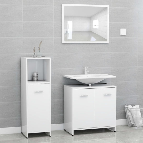 3 Piece Bathroom Furniture Set White - Bent Buys