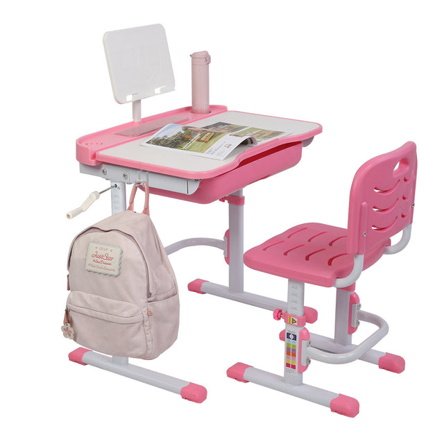 Hand-Operated Lifting Table Top Can Tilt Children's Study Table And Chair (With Reading Frame Without Lamp) - Bent Buys