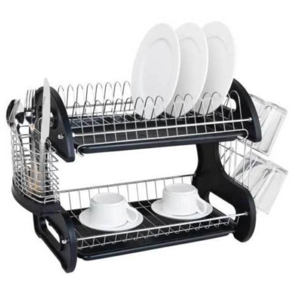 Multifunctional Dual Layers Bowls & Dishes & Chopsticks & Spoons Collection Shelf Dish Drainer Black - Bent Buys