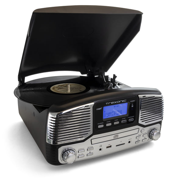 Trexonic Retro Wireless Bluetooth, Record and CD Player in Black - Bent Buys