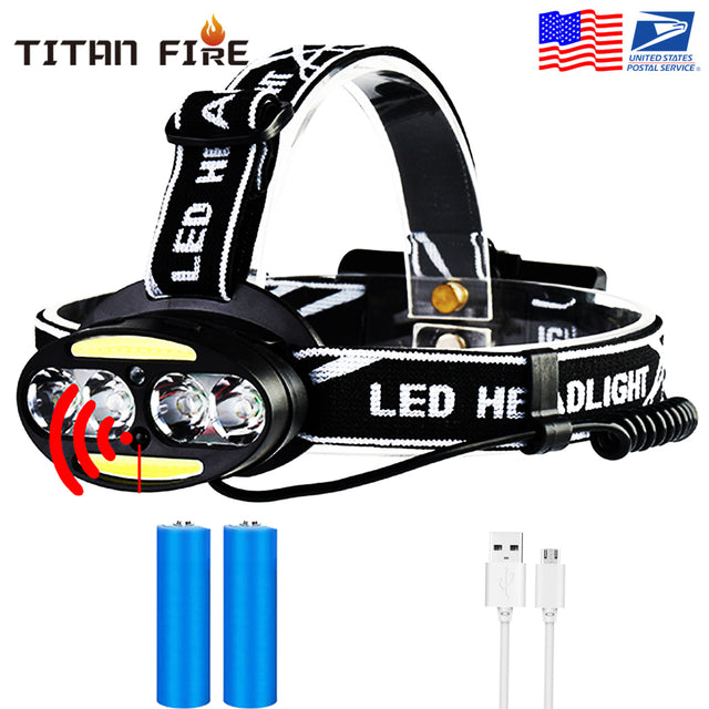 Mini Rechargeable COB LED Headlamp Body Motion Sensor Bicycle Head Light Lamp Outdoor Camping With USB - Bent Buys