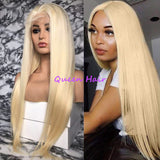 180% Full Density Long Silky Straight Hair #613 Blonde Color None Lace Wigs Glueless Heat Resistant Fiber Hair Baby Hair Fashion Women - Bent Buys