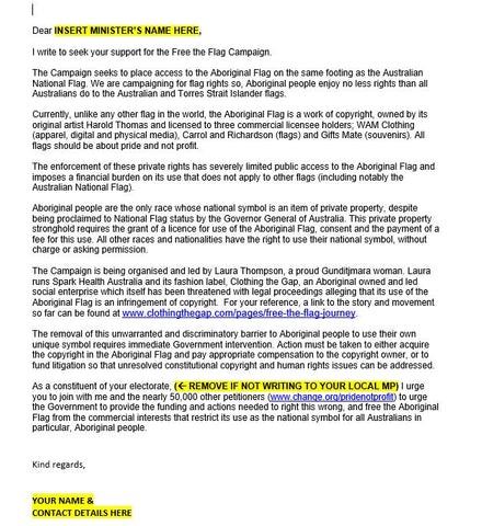 Aboriginal Flag Rights Letter to Minister _ Clothing The Gap