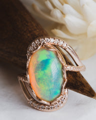 Opal and Diamond Anniversary Ring