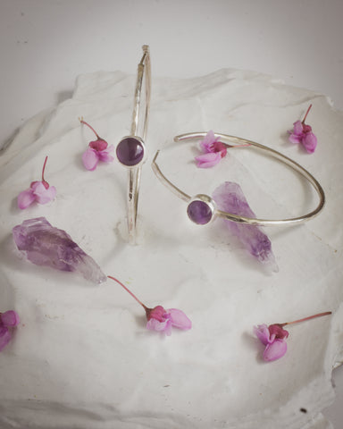 Amethyst sterling silver hoop earrings jewelry