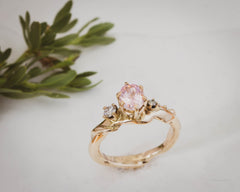 Diamond and Morganite Gold Engagement Ring Tulsa Jewelry