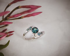 Diamond and Sapphire gold engagement ring