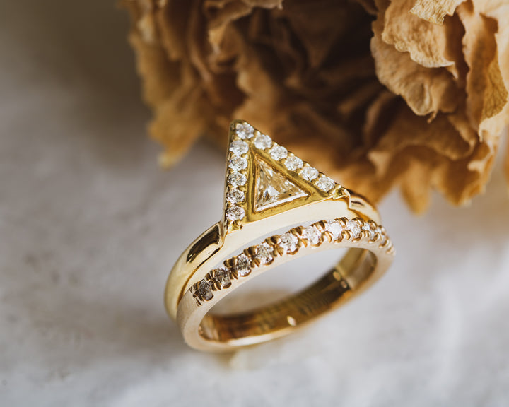 Gold and diamond mountain engagement ring. Tulsa engagement ring. Custom jewelry.