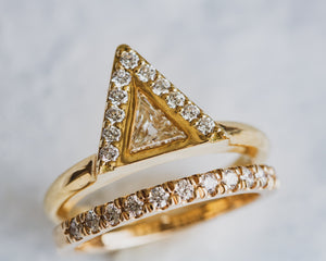 18K Gold and Diamond Mountain Top Ring