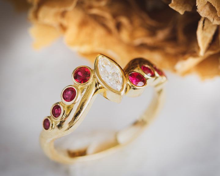 18K gold diamond and ruby engagement ring. Tulsa engagement ring. Custom jewelry.