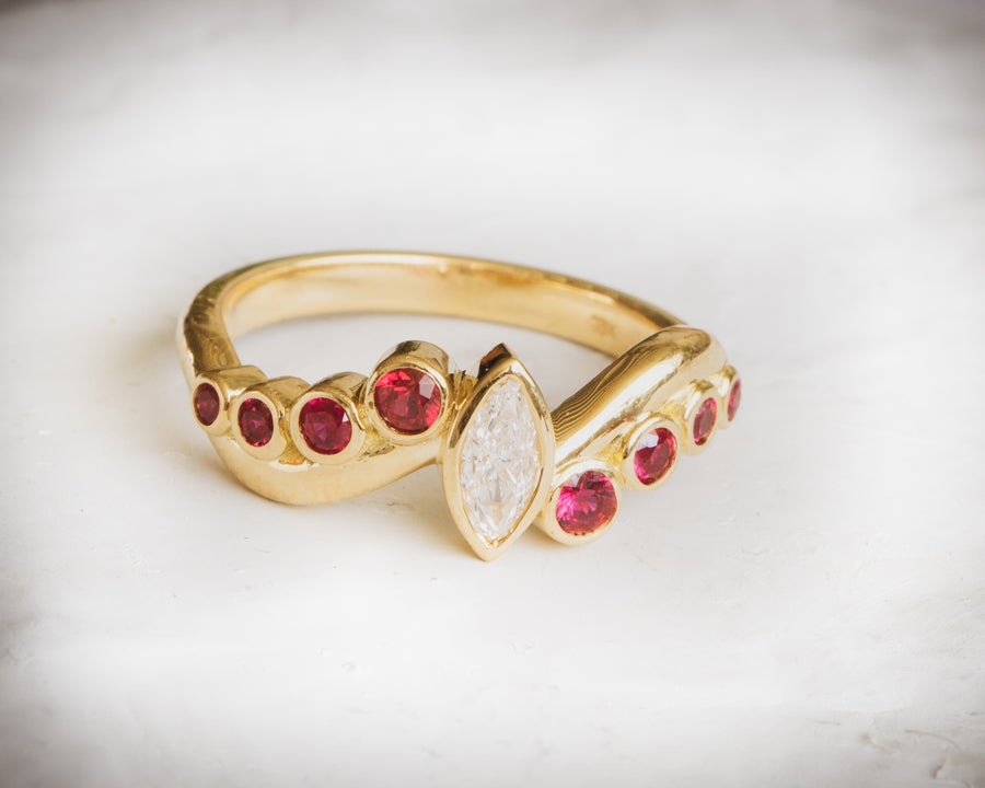 18K gold diamond and ruby engagement ring. Tulsa custom jewelry. Engagement and wedding ring.