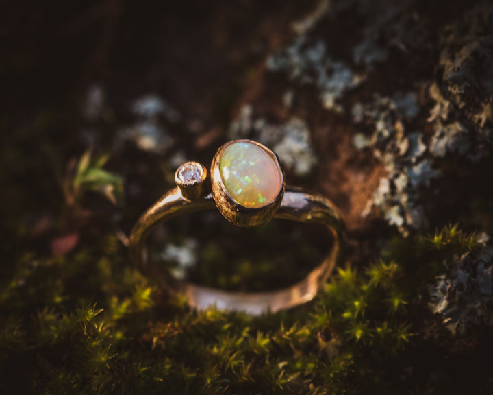 Opal & Diamond Engagement Ring
