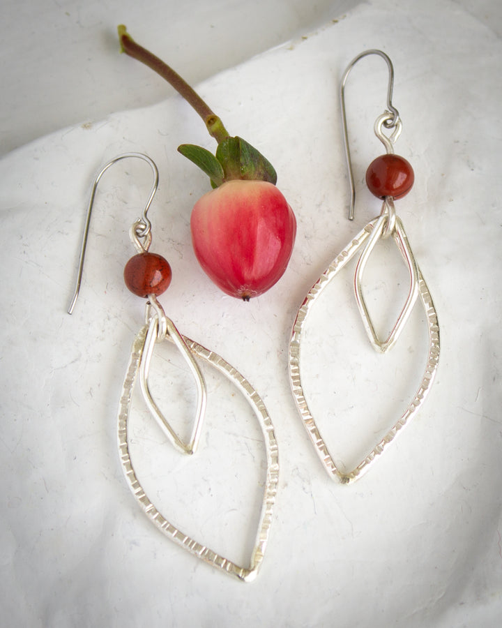 Jasper and Silver Yoni Earrings