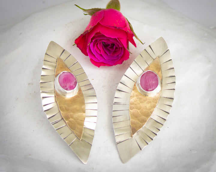 Silver and Brass Yoni Earrings - Ruby
