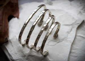 Hammered sterling silver hand forged cuff
