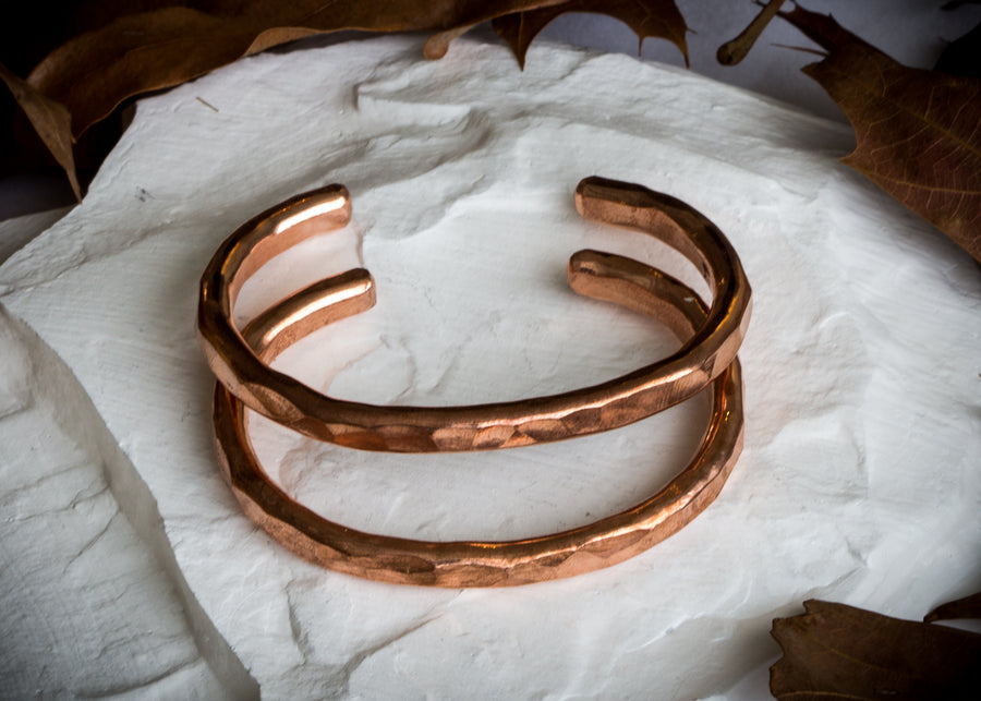 Hammered copper hand forged cuff