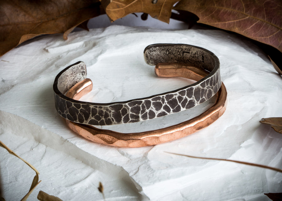 Sterling silver and copper hand forged cuff