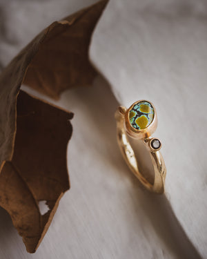 Turquoise and Black Diamond in 14K Yellow Gold