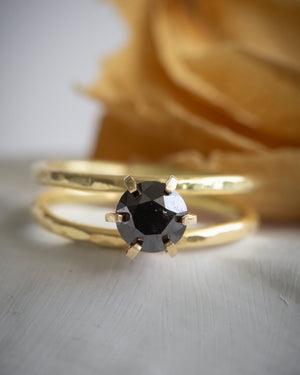 Dillon Rose black diamond engagement ring. Tulsa custom jewelry. Custom engagement and wedding rings.