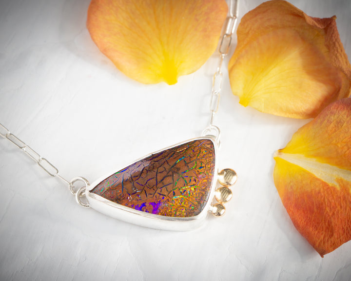 Koroit Opal Necklace in Silver and 14K Gold