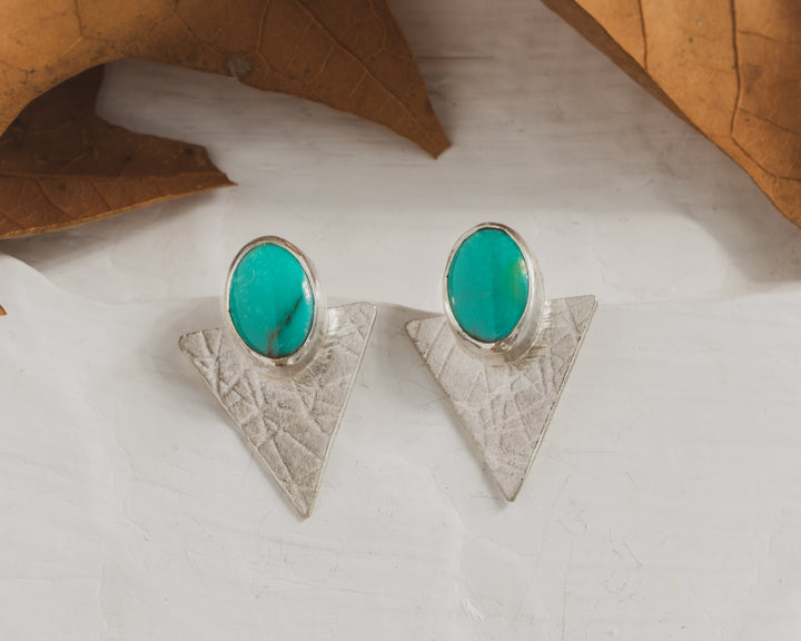 Natural turquoise and textured Sterling silver triangle earrings