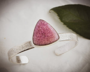Lepidolite and textured sterling silver cuff