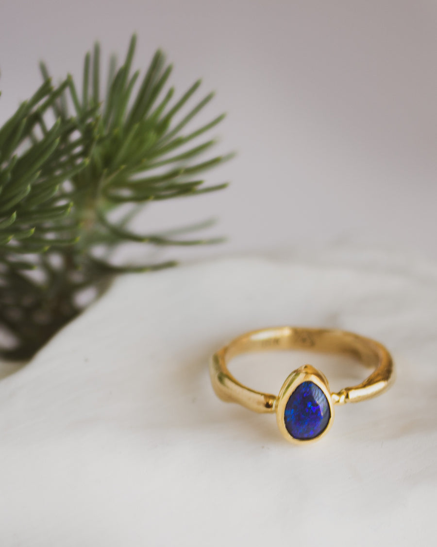 Black Opal and 18K Gold Ring