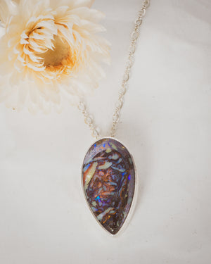 Australian Opal and Silver Necklace