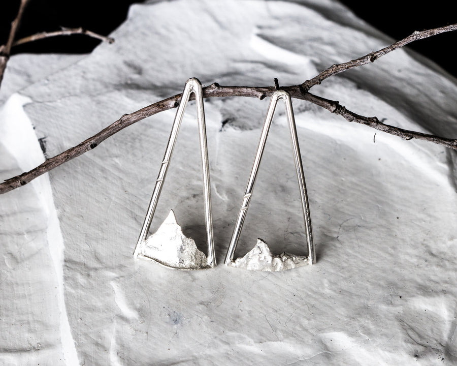 Reticulated silver and Sterling silver mountain earrings