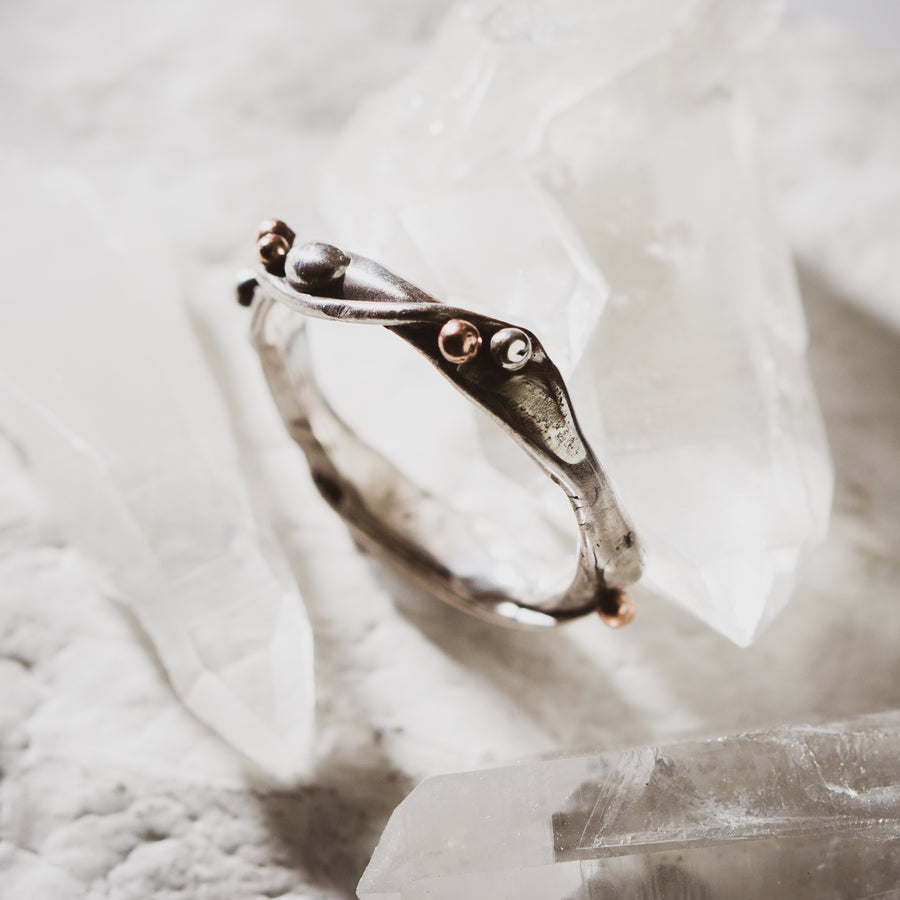 River ring in silver or gold. Custom jewelry. Tulsa wedding rings.