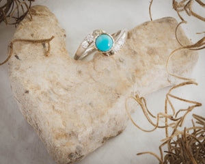 Turquoise and Diamond 14K White Gold Ring