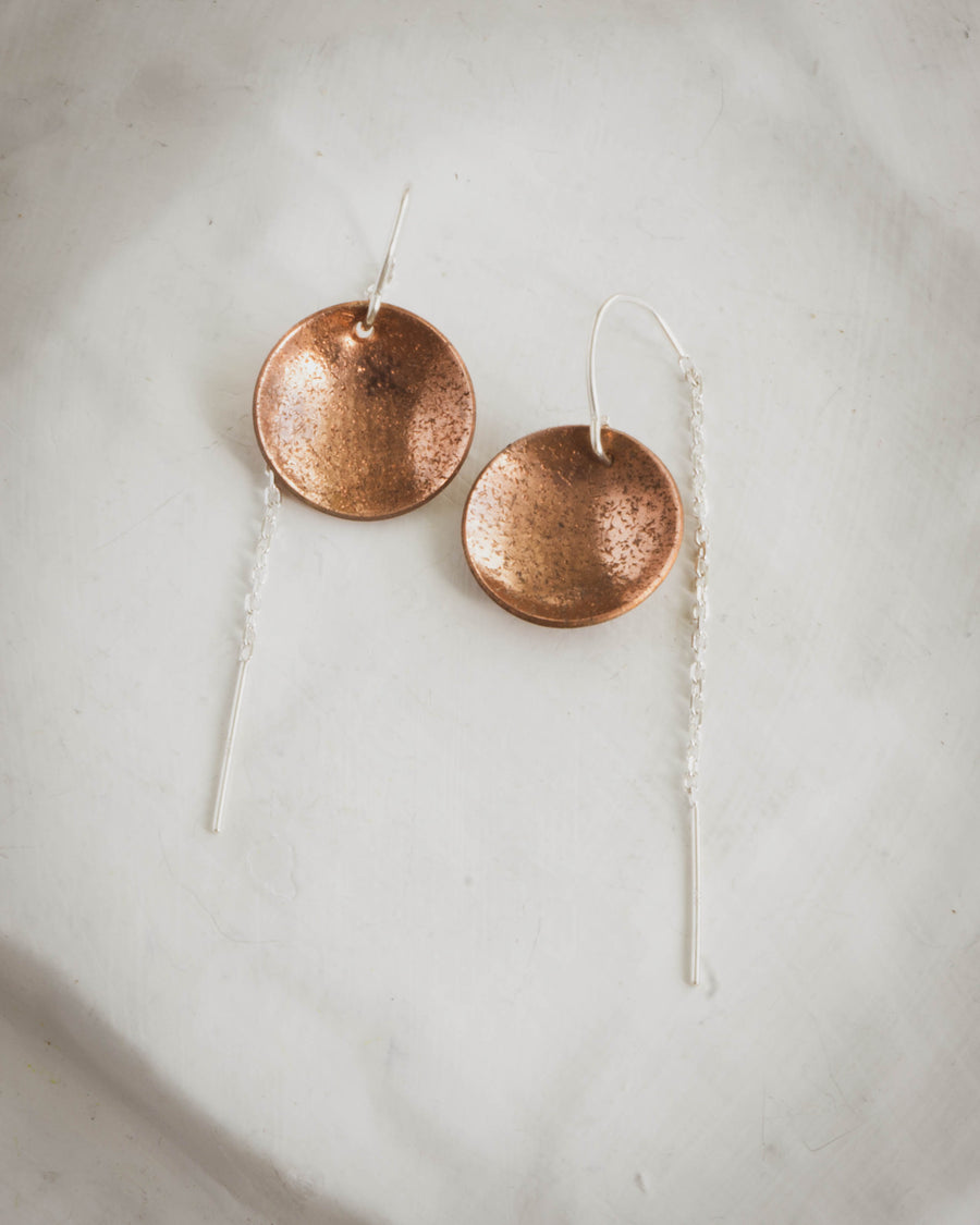 Copper Dome with Silver Threader Earrings