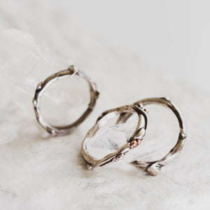 River ring in silver or gold. Tulsa custom jewelry. Oklahoma wedding rings.