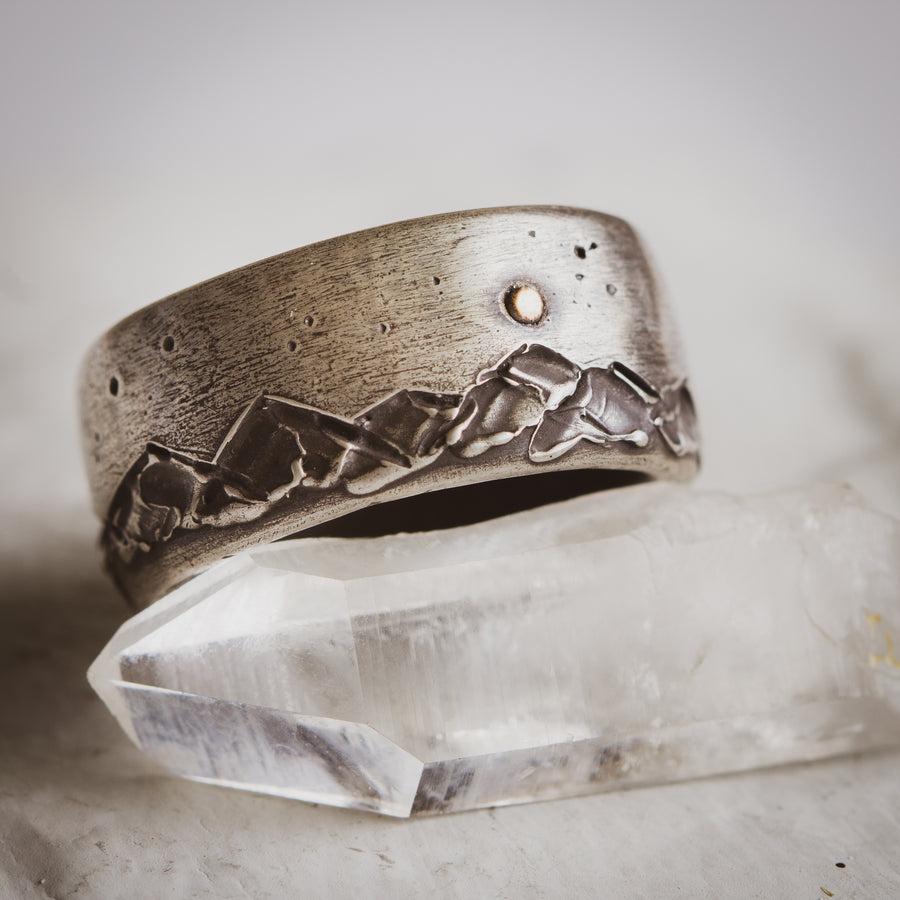 Mountain ring in Sterling silver or gold. Men's custom jewelry. Tulsa custom wedding ring.
