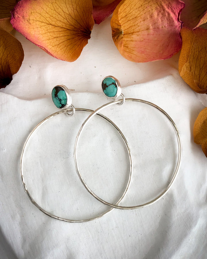 Turquoise and Sterling Silver Hoop Earrings