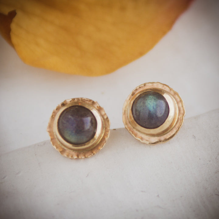 14K gold and labradorite stud earrings
