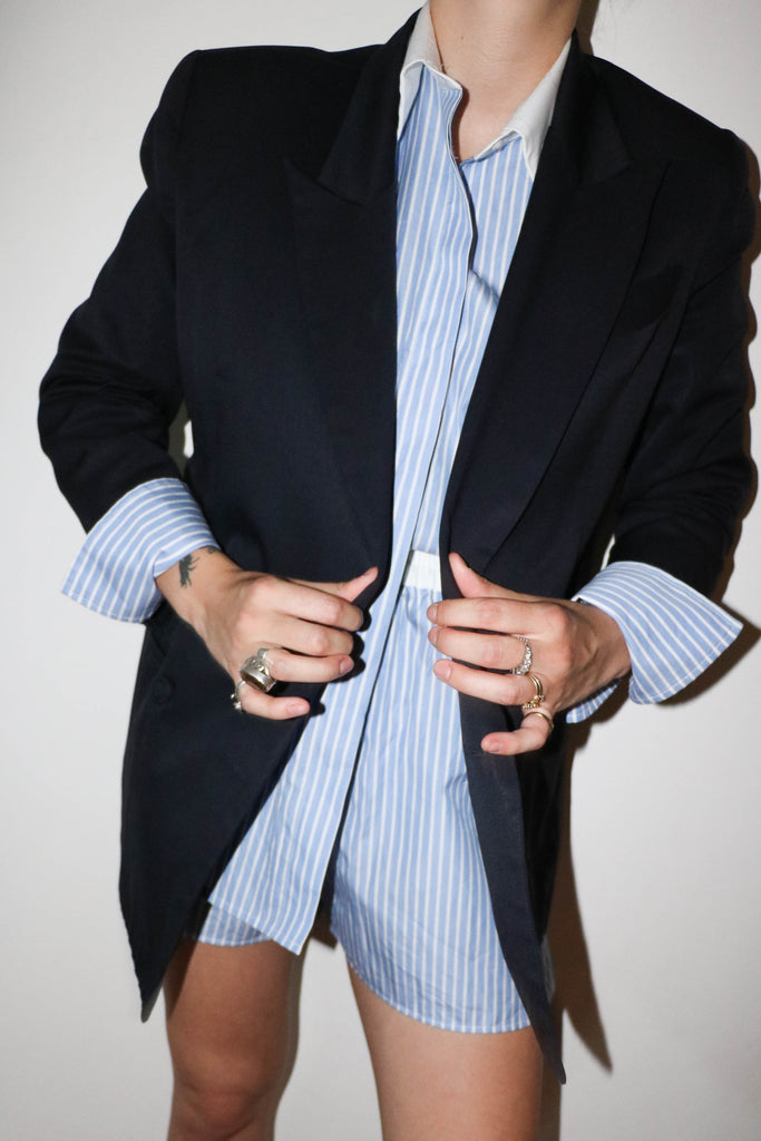 Tailored Shirt - Blue and White Stripe with Contrast Collar
