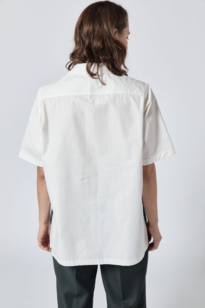 Bowler Shirt - White Cotton Twill